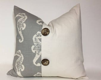 Gray pillow covers. Coastal Grey Beachhouse decor. Colorblock & button accent pleat decorative throw pillow home decor accent
