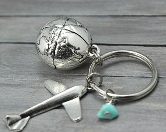 Airplane Key Chain, Travel KeyChain, Travel Gifts, Globe KeyChain, World Traveler, Flight Attendant, Pilot Key Chain