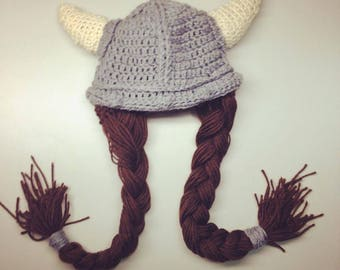 Female Viking Hat with Pig Tails