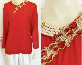 Vintage Red Tunic | Beaded Top | Red Blouse | Beaded Tunic | Beaded Evening Top | Gold Beaded | Pearls | Long Sleeve Tunic