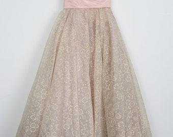 Vintage Powder Pink Flocked Floral Organza Party Dress