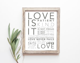 Bible Verse Print - 1 Corinthians 13  - Love Is Patient - Gift For Wife - Typography Print - Gifts Under 20 - Frame Not Included