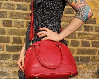 Nora Tote and Cross Body Bright Red Leather Bag