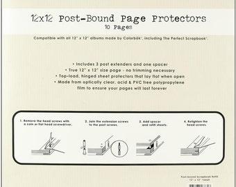 REFILLS 12x12 Page Protectors 10/pk + Posts COLORBOK #16664