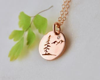 Rose Gold Tree Pendant, Silver pendant, Spruce Tree Necklace, Silver Jewelry, Sitka Tree Pendant, West Coast Jewelry, Canadian Jewelry