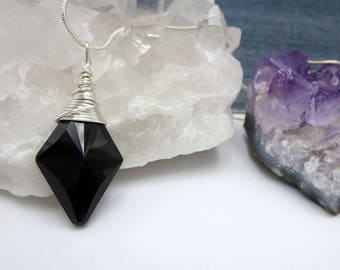 Black Pendant, Wire Wrapped Pendant, Jet Swarovski Crystal Necklace for Her, Layering Necklace for Women, Bold Arrow Pendant