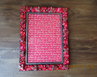 Button Picture Frame/ Valentine's Frame/ Heart Buttons/ 5 x 7 Frame/ Button Art/ Red Button Frame