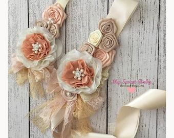 Baby Headband and sash belt, Baby Girl Headbands, Flower Roses Headband and  belt - Headband, headband, Flower girl Headband