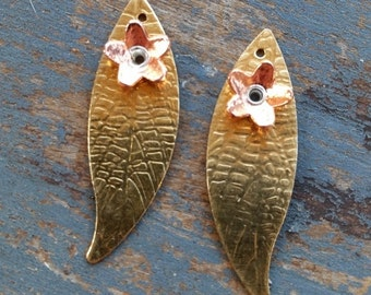 PAIR of dainty leaves with riveted flowers