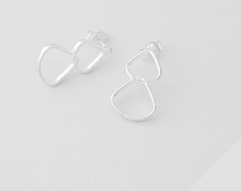 Rionore Sterling Silver Drop Stud Earrings