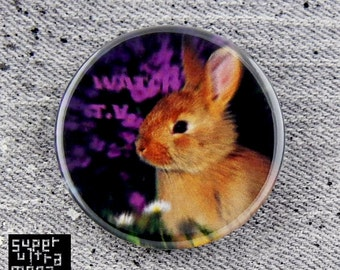 """Watch TV Bunny -1"""" or 1 3/4"""" - Pinback Button - Subliminal Message/They Live reference 1 of 3 series"""