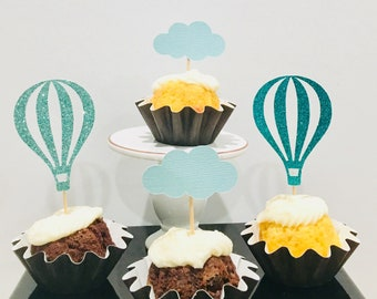 12ct hot air balloon cupcake topper, cloud cupcake topper, up up and away topper, Baby shower cupcake toppers