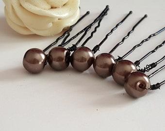 hair pins hair pins wedding hair for brides, wedding hair pins, 6 hair pins, Brown Pearly beads Brown 48mm