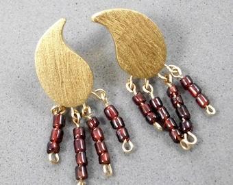 On Sale: 10%. Stud Earrings, Leaf Shaped, 9k stud, For Sensitive Ear,Plated by 24K, Garnet Beads, Bordeaux, Wedding, Elegant