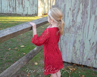 The Autumn - Red Lace Dress, Flower Girl Lace Dress, Girls Dress for infants toddlers and girls sizes 1T, 2T,3T,4T,5T,6,7,8,9/10,11/12,13/14