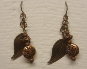 Bronze leaf french wire earrings