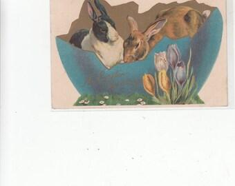 Nister Easter Fantasy 3 Rabbits In Broken Blue Egg Some Gold Antique Postcard 1911 PM