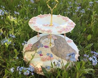 Cake stand, romantic platter, handmade, handmade ceramics, tablewear, cake platter, pearls, clayart, ceramic dish, stoneware, ceramisc, clay