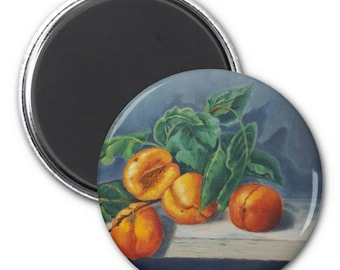 Refrigerator Magnet- Apricots and Peaches Design - Party Favor, Stocking Stuffers, Hostess Gifts