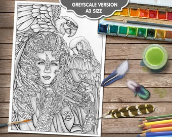 Avian Queen Adult Colouring Page