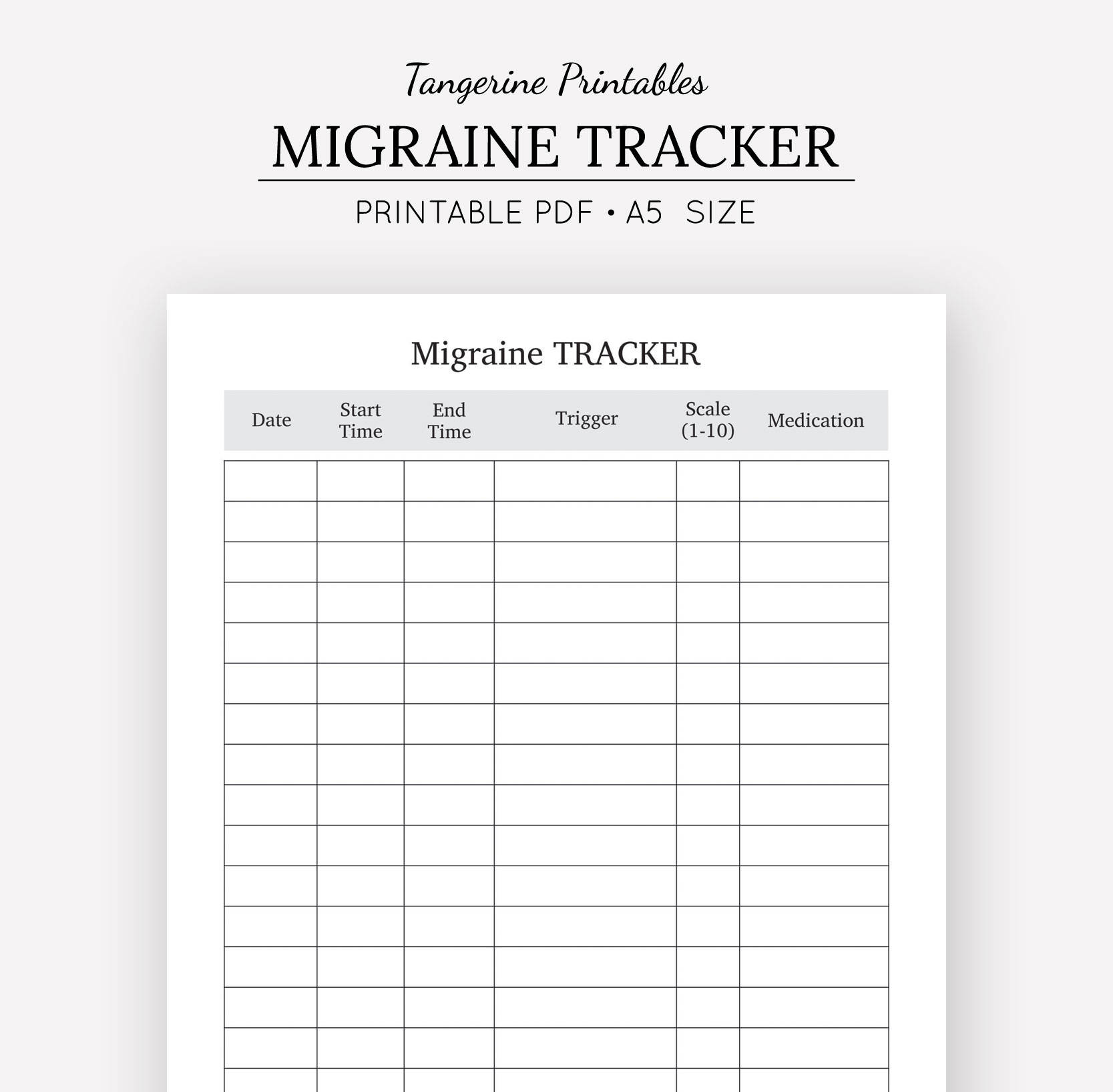 It's just a graphic of Crazy Migraine Diary Printable