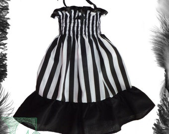 Babies Stripes Bat Summer Dress, Baby Goth