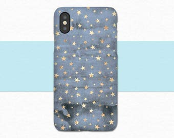 In Stock NOW iPhone X Case, Blue Gold Stars, Blue iPhone X, Star iPhone X Case, Phone Case iPhone X