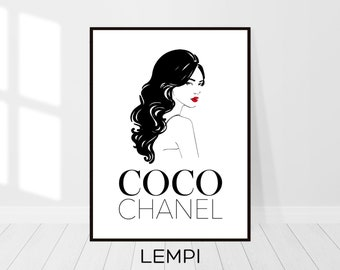 Coco Chanel Print, Fashion Sketch, Coco Chanel Decor, Fashion Illustration, Chanel Print, Fashion Print, Minimalist Art, Instant Download