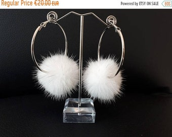 Rapid sale White fur pompom hoops. Stainless steel  earrings with fur.