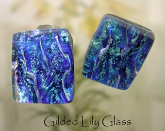 Starry Night Dichroic Glass Clip Earrings, Handmade Fused Glass Jewelry from North Carolina