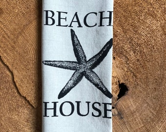Beach House Screen Printed 100% Linen Tea Towel,Starfish, Hostess Gift
