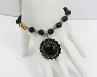 "Black Faceted Glass Bracelet - 6.75"" Linked bracelet with 1"" domed dangle - 50s-60s - free US shg"