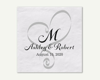 Wedding Heart Monogram Date Names Bride Groom Standard Cocktail Napkins | Quantity Discounts