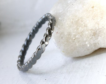 Rustic Sterling  Silver Ring, Unisex Sterling Silver Oxidized Ring