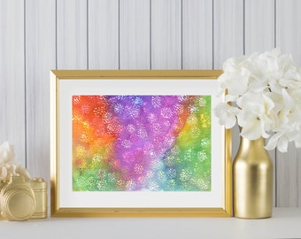 Bright multicoloured art, modern abstract art, rainbow coloured art, A5,