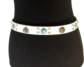 Western  White Leather Belt Faux Turquoise Conchos Animal Fetishes Woman's Small