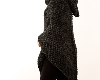 Poncho Knitting Pattern #203 - Knit Pull Over - Knit Jacket - Knit Hood