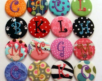 9 Monogrammed Badge Reels - Id Holder- Personalized Slide on clip or Swivel Clip
