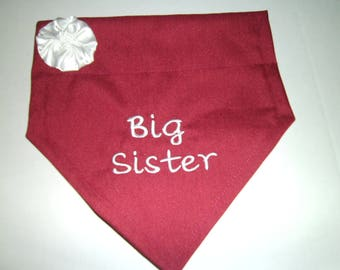 Big Sister, Dog Bandana, Pregnancy Reveal, Personalized, Baby Announcement,  Over the Collar,  Dog Gift, Dog lovers gift,  Baby Gift
