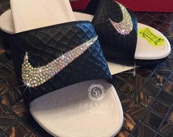 Swarovski Slides - Nike Benassi Solarsoft - Bling Sandals - Crystal Nikes - Black & White - Bling Slides - Bedazzled - SparkleBoutique2U