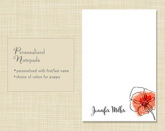 Personalized Notepad - Poppy Flower