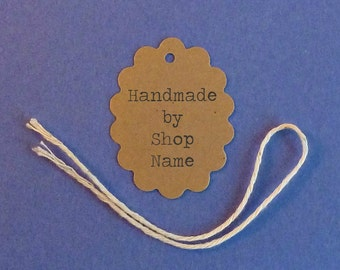 """Custom Scalloped Oval """"Handmade by"""" Tags 1.5"""" x 2"""" with twine ties . personalized gift, price, or product tags . Etsy shop supplies . labels"""