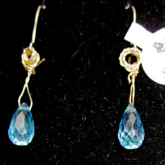 Earrings J Topaz, sky blue, December Birthstone, Faceted Teardrops gold kidney wires 6.5ct