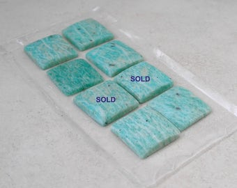 Vintage Square Amazonite Cabochon Buff Top 16mm Square Gemstone Cabochons For Jewelry Making