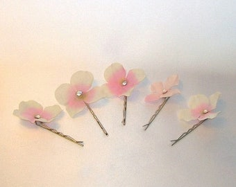 On Sale Delicate Pink Hydrangea Bobby Pins With Swarovski Crystal Centers