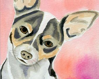 Chihuahua Art, Dog Wall Art, Painting, Dog Watercolor Painting, Dog Lover Gift, Chihuahua Original Watercolor, Dog Wall Decor