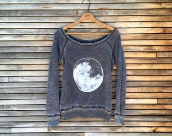 The Campfire Top, Off Shoulder Top, Yoga Top, Camping Top, Hiking Top, Gym Sweatshirt, Moon Gift