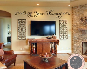 Family Wall Decal - Christian Wall Decal - Vinyl Wall Decal - Inspirational Wall Decal - Count Your Blessings - Vinyl Wall Decal