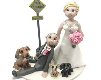 Custom wedding cake topper, personalized cake topper, Bride and groom cake topper, Mr and Mrs cake topper, Hunting themed wedding