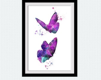 Butterfly print Butterfly art poster Home decoration Kids room wall art Butterfly decor in lilac Animal watercolor poster Gift idea W844